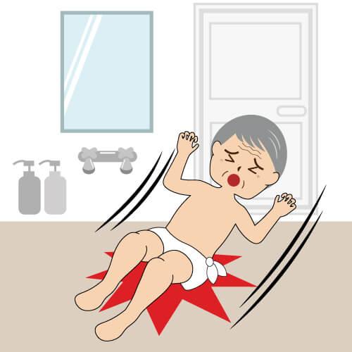 風呂場で滑って転ぶお年寄り